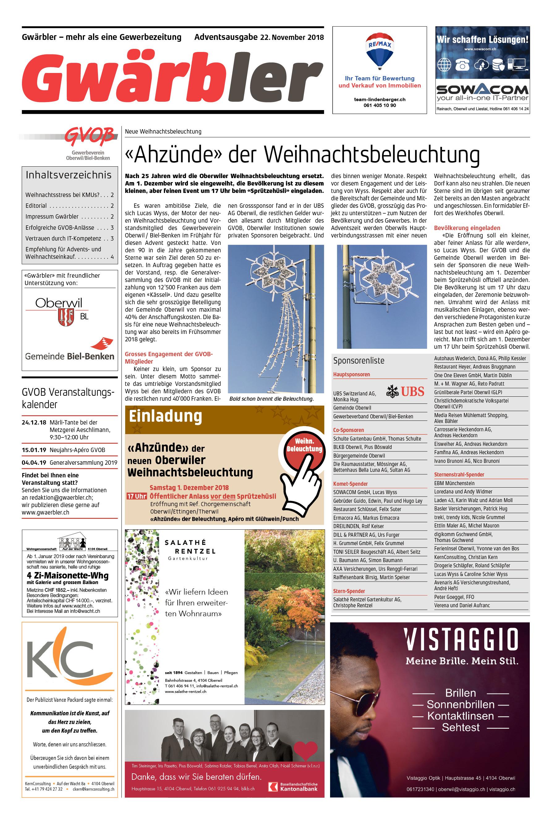 Gwärbler Ausgabe 3-18, Seite 1