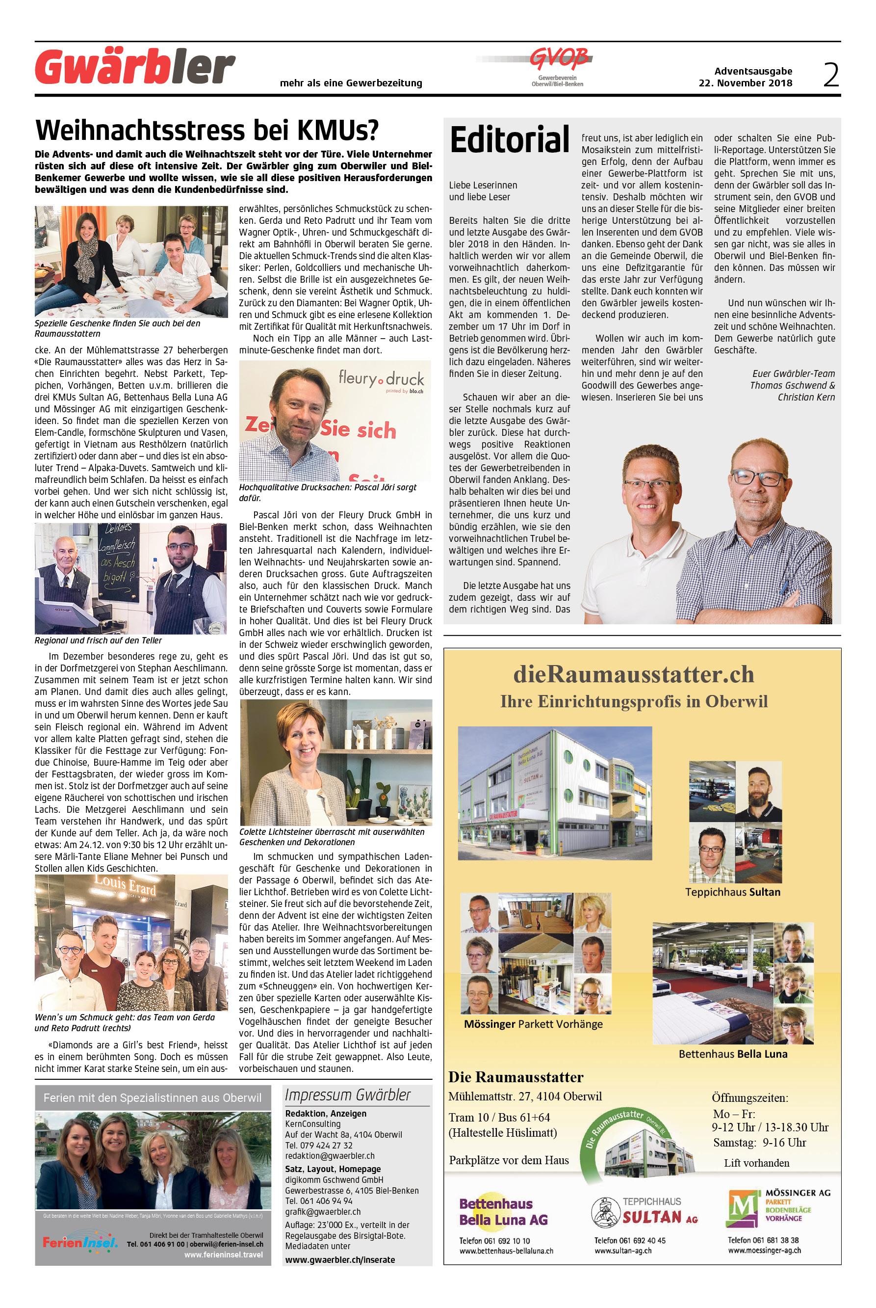 Gwärbler Ausgabe 3-18, Seite 2